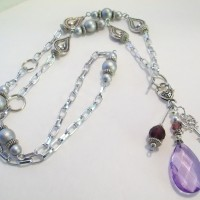 "Purple Jewels... for a February Birthstone.  An elegant long 36"" length."